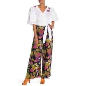 Trina Turk Parsley Floral Silk Pants Wide Leg